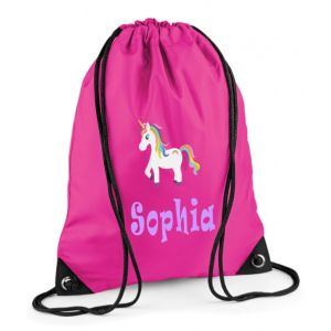 Unicorn Any Name Drawstring Bag