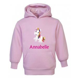 Unicorn Any Name Childrens Embroidered Hoodie