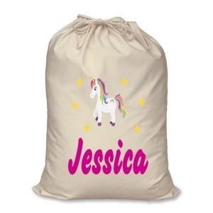 Unicorn Any Name Printed Christmas Sack