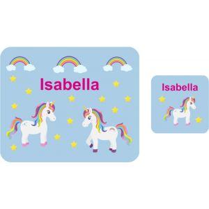 Unicorns Hardboard Placemat & Coaster