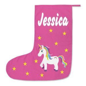 Unicorn Any Name Printed Christmas Stocking