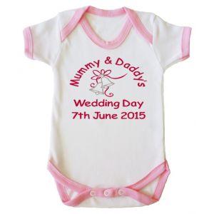Mummy & Daddy's Wedding Day Any Date Girl Baby Vest