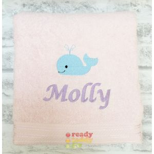 Name + Whale Embroidered Design Bath Towel