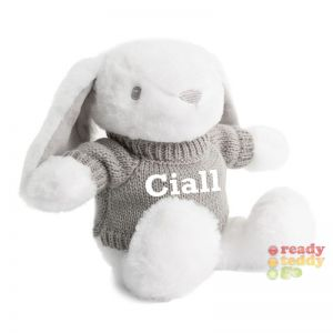 White Bunny Rabbit wearing grey Knitted Jumper