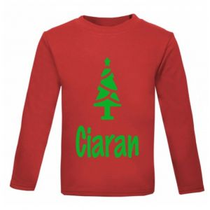 Christmas Tree Silhouette Any Name Childrens Printed T-Shirt