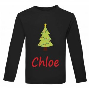 Christmas Tree Any Name Childrens Printed T-Shirt