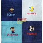 Name + Embroidered Design Bath Towel